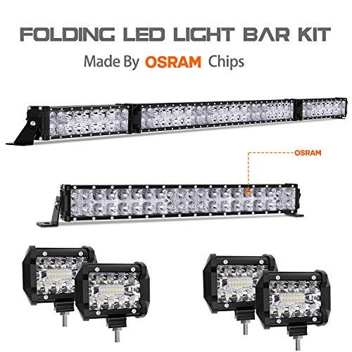 - LED Light Bar Kit, Autofeel OSRAM Chips 52 Inch + 22 Inch Flood 32000LM Spot Beam Combo White LED Light Bars + 4PCS 4