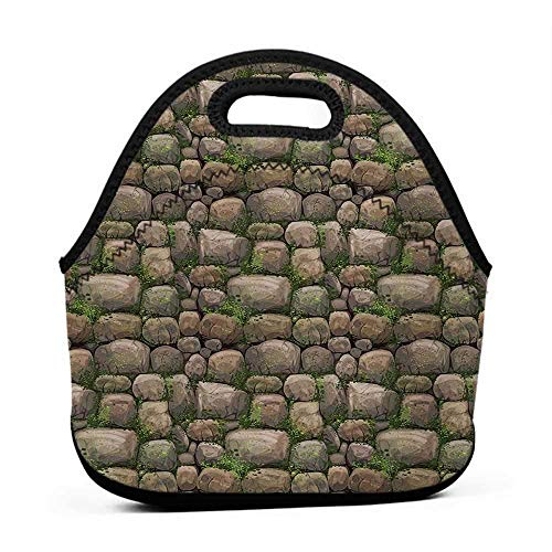 (Tote Outdoor Nature,Stones Covered with Moss Rock Formation Forest Peaceful Meditation Theme,Dark Taupe Fern Green,amazon lunch bag for men)