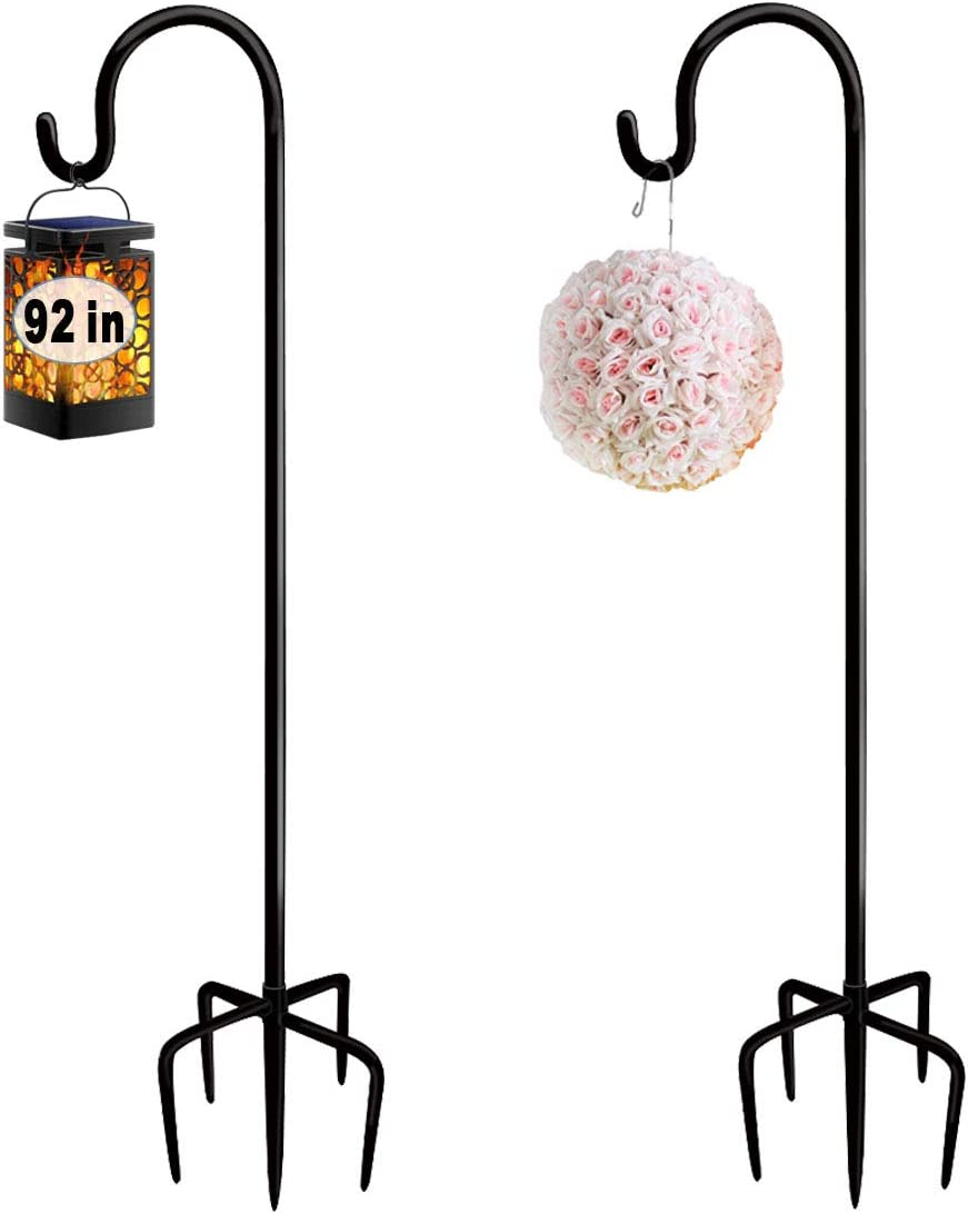 Artigarden 92 Inch Outdoor Shepherd Hooks with 5 Pronger Base (2 Packs), Adjustable Heavy Duty Garden Hanging Stand Holder for Bird Feeders Lanterns Planter Hanger, Matte Black