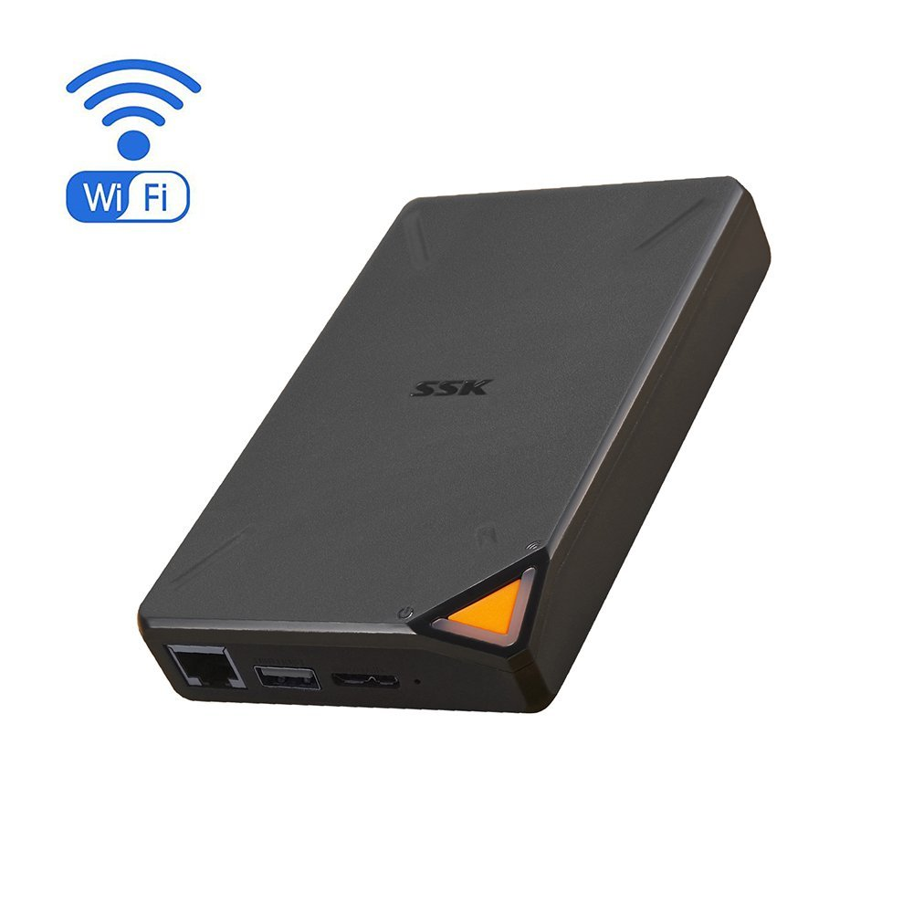 SSK Portable NAS Wireless Hard Drive 1TB Personal Cloud Smart Storage,  External Hard Disk with Personal Wi-Fi Hotspot, Support Auto-Backup,