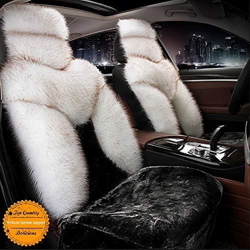 ZTer Car Seat Cushion Cover Full Set, Winter Universal Fluffy Soft Warm Front and Rear 5 Seats Protector for 95% Types of 5 Seats Cars(Black and White),Standard: Sports & Outdoors