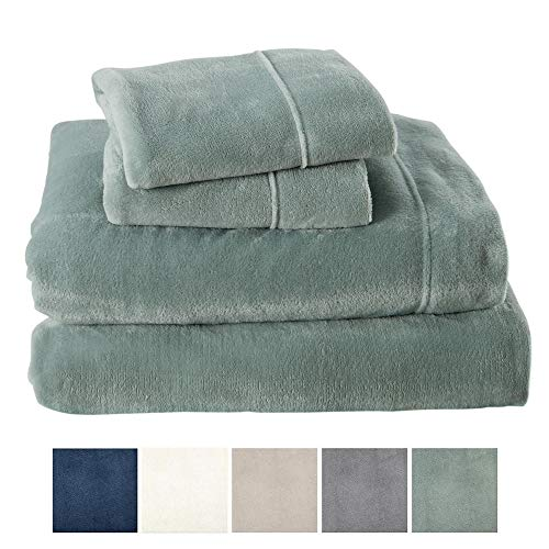 Velvet Jade - Great Bay Home Extra Soft Cozy Velvet Plush Sheet Set. Deluxe Bed Sheets with Deep Pockets. Velvet Luxe Collection (Queen, Jade)