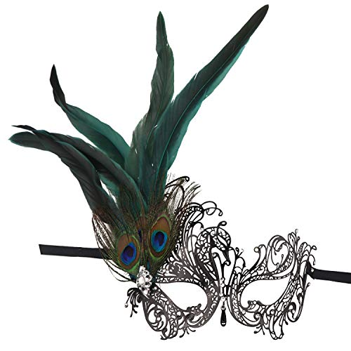 Masquerade Metal Mask,Rhinestone Peacock Feathers Venetian Halloween Costume Mask (Style 2) (With Mask Handle)