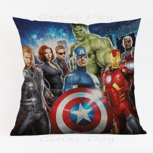 17.3 X 17.3 inches Red Avengers Superheroes Decorative Pillowcase, Blue Ironman Thor Throw Pillow Cover Captain America Hulk Cushion Cover Adventure Movie Themed Square Plain Woven, Polyester by Unknown