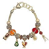 Good Luck Fortune Theme Charm Bracelet BI Murano Beads Gold Tone Slider