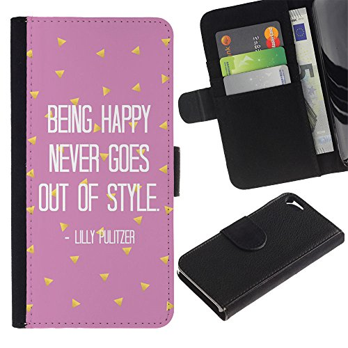LASTONE PHONE CASE / Luxe Cuir Portefeuille Housse Fente pour Carte Coque Flip Étui de Protection pour Apple Iphone 5 / 5S / being happy motivational pink text
