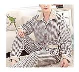 Femaroly Men's Flannel Pajamas Autumn and Winter Thicken 2 Piece Sleepwear Loungewear Home Service Lattice XL