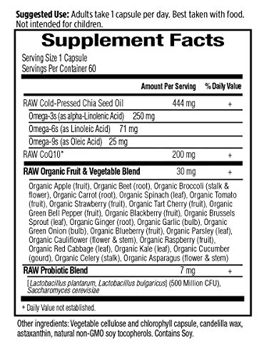 Garden of Life Vegetarian Omega 3 6 9 Supplement - Raw CoQ10 Chia Seed Oil Whole Food Nutrition with Antioxidant Support 60 Capsules Discount
