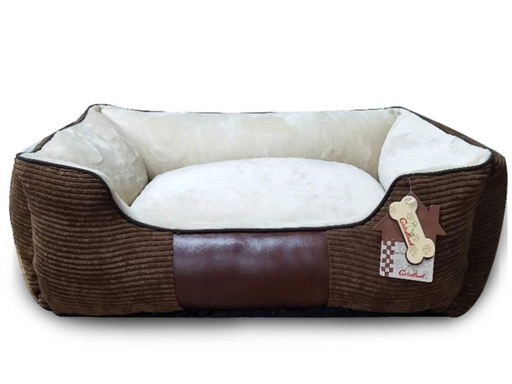 100X70X30CM QZX Pet Bed Washable dog Bed Wear-Resisting with Removable Washable Cover Corduroy + flannel Three-dimensional PP cotton Suitable for all dogs brown