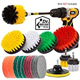Holikme 20Piece Drill Brush Attachments Set,Scrub Pads & Sponge, Power Scrubber Brush with Extend Long Attachment All purpose Clean for Grout, Tiles, Sinks, Bathtub, Bathroom, Kitchen