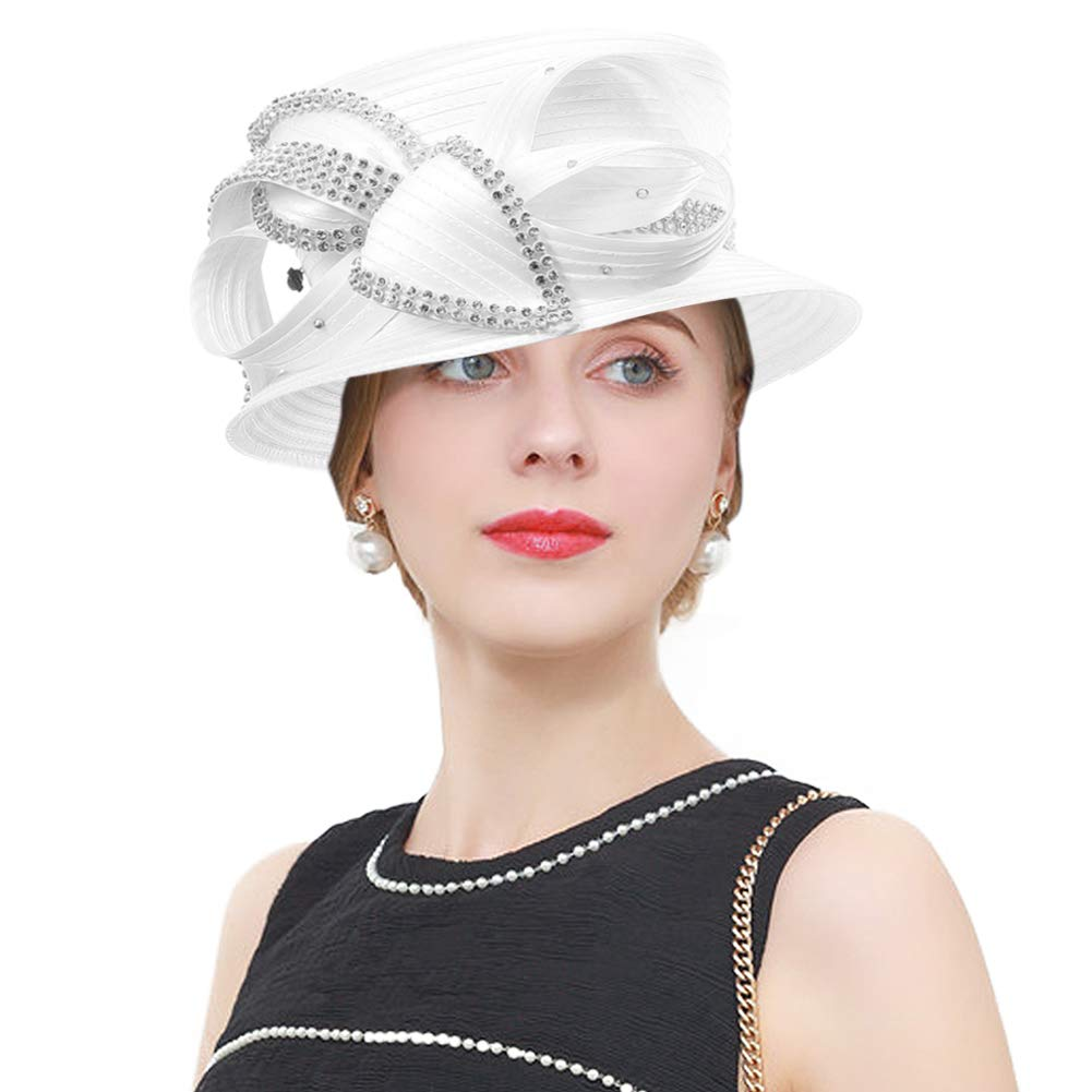 Janey&Rubbins Women's Kentucky Derby Tea Party Church Rhinestones Fascinator Hats (White-1802)