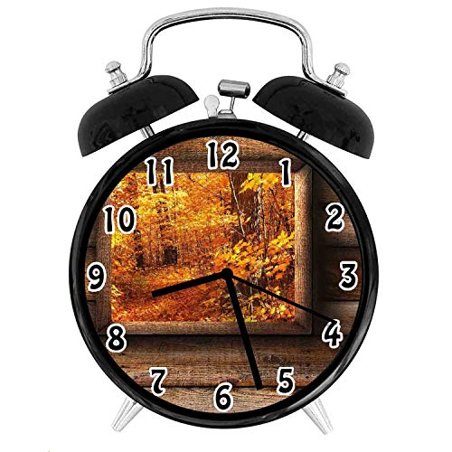 22yiihannz Fall ations Silent Luminous Alarm Clock,Fall Foliage View from Square Shaped Wooden Window Inside Cottage Photo-No Ticking,Soft Night Light,The Best Gift for Family or Friends-4 inch