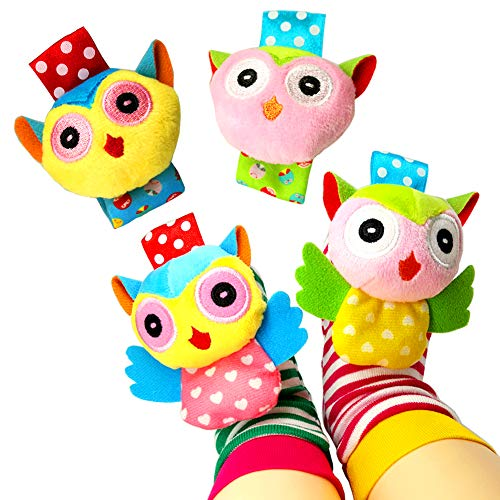 (Baby Socks Toys, Baby Infant Wrist Rattles and Foot Rattles Finder Socks Toy Set, Early Educational Development Animal Rattles Toy Gift for Boys and Girls (4 Packs))