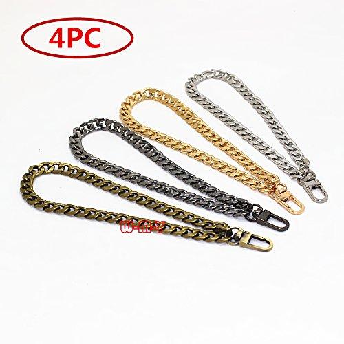 M-W 8 DIY Iron Flat Chain - DIY Iron Flat Chain Strap Handbag Chains Accessories Purse Straps Wrist Strap Wrist chain, with 1pcs Metal Buckles (Gold+Silver+Gun-Black+Bronze)