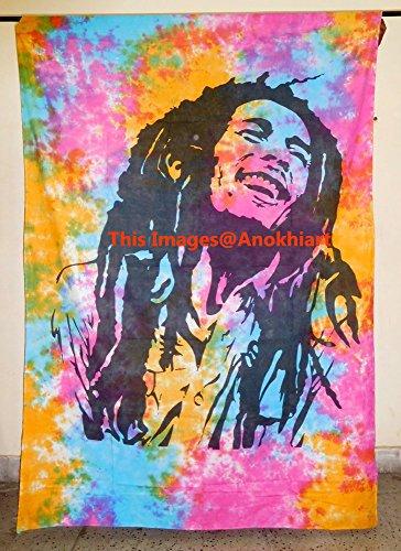 Bob Marley Tapestry Tie Dye Multi Color Indian Hippie Wall Hanging Bohemian Bedspread Mandala Cotton Dorm Decor Beach - Wall Hangings Bob Marley