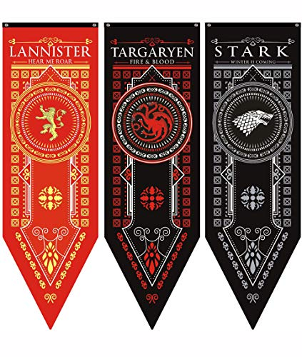 Game of Thrones House Sigil Tournament Banner GOT Flag Poster Wall Decals Party Decoration 3 Pack(18