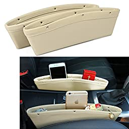 2 Set Beige PU Leather Car Console Gap Filler Side Seat Pocket Organizer - Stop Before it Drops