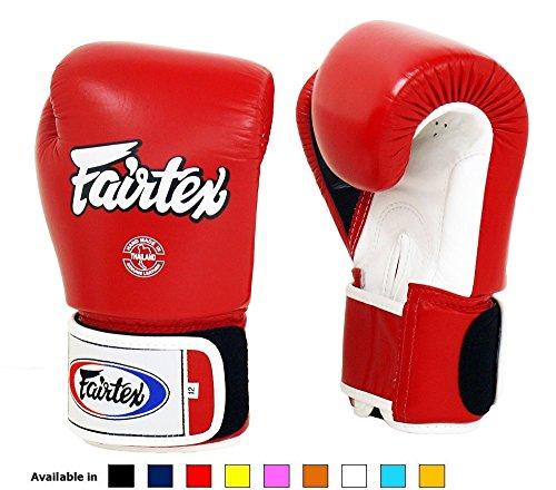 Fairtex Muay Thai Boxing Gloves BGV1 10 12 14 16 oz Black White Red Blue Pink Emerald (Red/white/black white trim, 16 ()