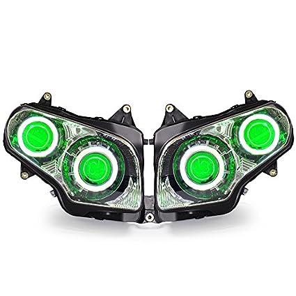 amazon com: kt led angel eye headlight assembly for honda goldwing gl1800  2001-2017 green demon eye: automotive