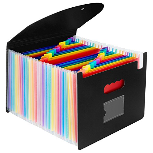 Oak-Pine 24 Pocket Expanding File Folder with Cover - Large Plastic Rainbow Expandable File Organizer Self Standing Accordion A4 Document Folder Wallet Briefcase Business Filing Box