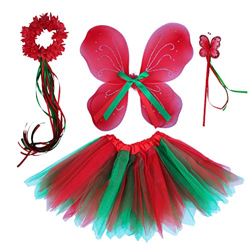 Christmas Costumes For Girls (Christmas Costume Fairy Wings Butterfly Tutu Skirt Toddler Girls Holiday Outfits (red)