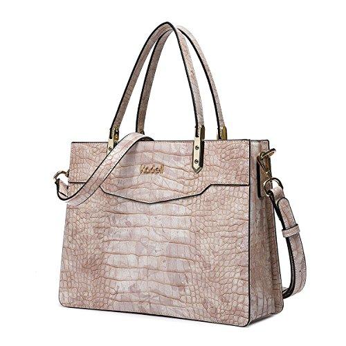 Kadell Borsa a tracolla con manico superiore per le donne con borchie a rilievo coccodrillo Beige beige