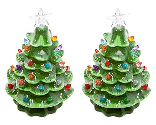 ReLive Christmas is Forever Lighted Tabletop Ceramic Tree, Set of 2, 7-Inch Green Trees with Multicolored Lights
