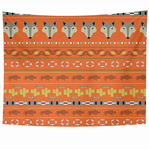 Ahawoso Tapestry 80 x 60 Inches Retro Blue Arizona Buffalo Pattern Southwestern Necklace Red Desert Southwest Cactus Indian Coyote Wall Hanging Home Decor Tapestries for Living Room Bedroom Dorm ()