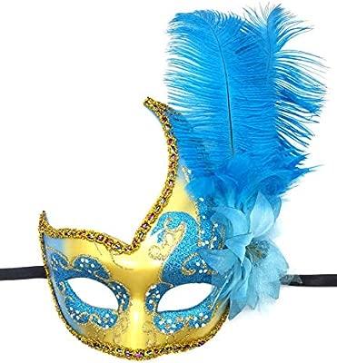 Flywife Pluma Mascarada Máscara Halloween Mardi Gras Cosplay Trajes Veneciano Fiesta Máscara (Cielo Azul)