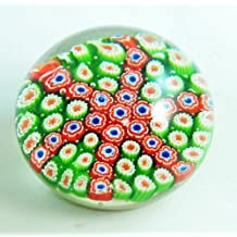 Hand Glass Art Blue & White Millefiori Filled Paperweight PW-6034
