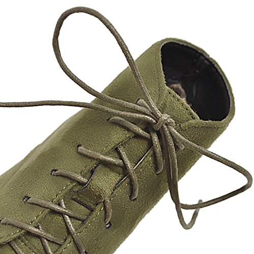 Vitalo Heel Ladies Lace Ankle Kitten Green Booties Womens Boots Pointed up Shoes RwxqrCRF7