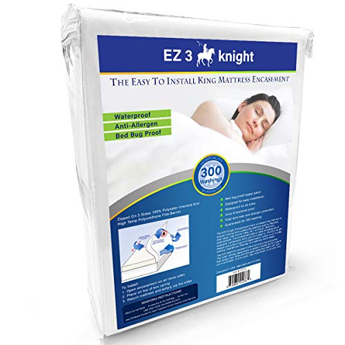 EZ3 Knight Mattress Encasement – Quality Mattress Protector Designed with 100% Waterproof, Virus & Bacteria Proof, Hypoallergenic Poly-Knit Material (King Bed)