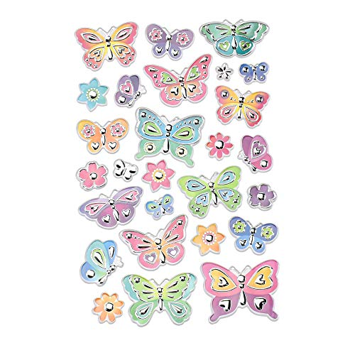Homeford Delicate Butterfly Medley Foil Fun Stickers, 27-Piece