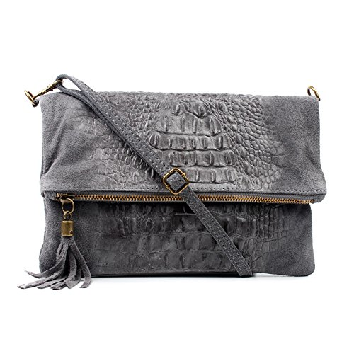 Croc Envelope Dark Leather Bag Suede Occasion Bag Real Clutch Bag Aossta Wedding Grey Shoulder vtxp7W