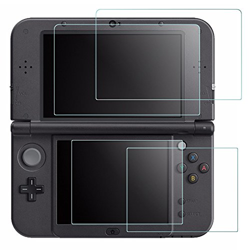 New Glass Screen - Screen Protector Compatible Nintendo New 3DS XL, AFUNTA 4 Pcs Tempered Glass for Top Screen and HD Clear Crystal PET Film Compatible Bottom Screen, 3DSXL Film Accessory