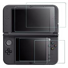 AFUNTA Protector de visualización Nintendo New 3DS XL, 4 Pcs Vidrio Templado visualización Superior HD Clear Crystal Pet Película la Parte Inferior visualización, 3DSXL Película Accesorio