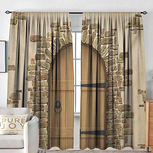 NUOMANAN Blackout Curtains Rustic,Wine Cellar Entrance Stone Arch Ancient Architecture European Building,Sand Brown Pale Brown,Rod Pocket Drapes Thermal Insulated Panels Home décor -