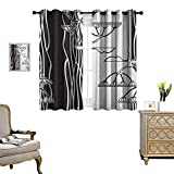 Warm Family Black and White Window Curtain Drape Abstract Fennel Plants with Seeds Monochrome Garden Condiment Ornament Decorative Curtains for Living Room W72 x L45 Black White