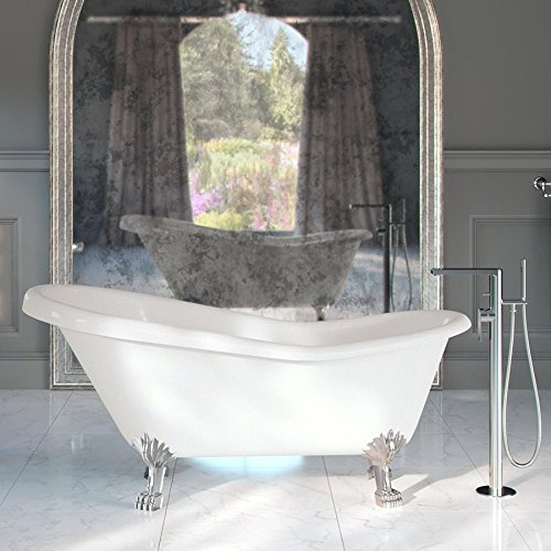 maykke gibson 67 traditional oval acrylic clawfoot tub elegant white slipper bathtub with chrome finish feet for bathroom shower cupc certified - Acrylic Clawfoot Tub