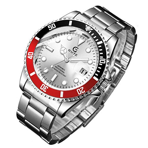 (Mens Watch,Stone Full Stainless Steel Waterproof Casual Stylish Business Quartz Wrist Watch Luminous Dial Rotatable Bezel)