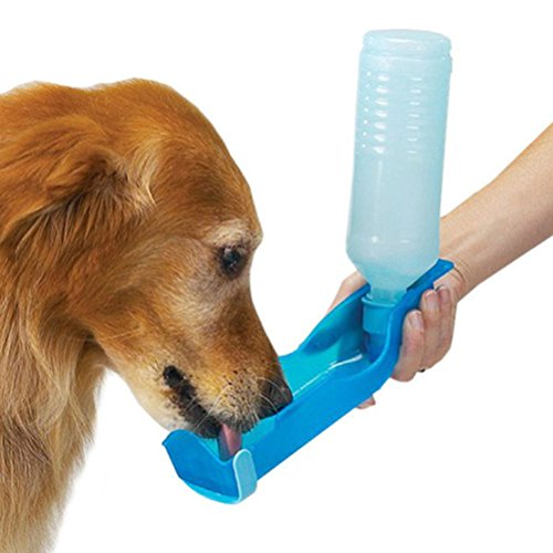 Price comparison product image Pet Water Bottle, Iusun 250ml Foldable Pet Dog Cat Water Drinking Bottle Dispenser Travel Feeding Bowl (Random)