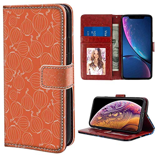 iPhone Xr Wallet Case, Burnt Orange Hand Drawn Onion Outline Style Vegetables Warm Colored Background Burnt Orange and White PU Leather Folio Case with Card Holder and ID Coin Slot