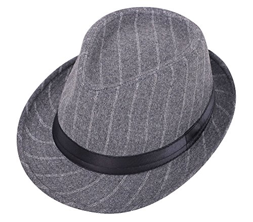 Simplicity Unisex Structured Gangster Trilby Wool Fedora Hat Grey Two Strips -