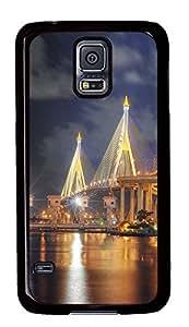 Samsung Galaxy S5 Beautiful Bhumibol Bridge Bangkok City PC Custom Samsung Galaxy S5 Case Cover Black