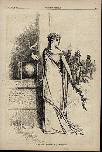 Dove Wood Print - Peace Doves Beauty Woman Voting 1879 antique Thomas Nast wood engraved print