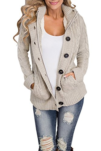 Juniors Turtleneck - Ermonn Women Unisex Zipper Button Down Knitted Sweater Cardigans Hooded Jackets