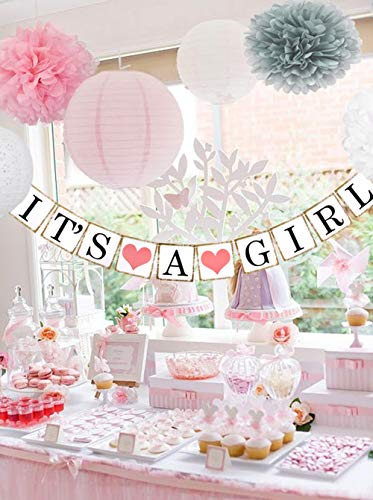 Beau & Miel Baby Shower Decorations for Girl, decoracion para Baby Shower niña, babyshower Package, Decoration Party kit with Banner Decor, Pink White Gray Packages Paper pom poms for Babies]()
