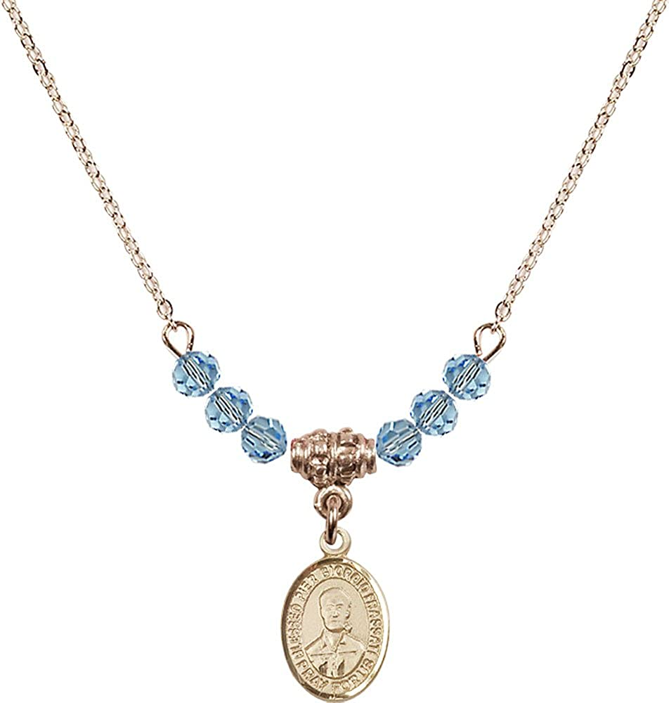 18-Inch Hamilton Gold Plated Necklace with 4mm Aqua Birthstone Beads and Gold Filled Blessed Pier Giorgio Frassati Charm.