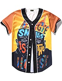6915171ea2b0 Unisex Mens Arc Bottom 3D Print Baseball Team Jersey Shirt