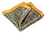 HISDERN Paisley Floral 100% Natural Silk Printed Pocket Square Mens Fashion Classic Handkerchief